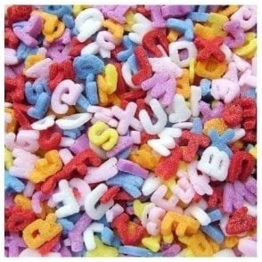 100% Natural, Rainbow Confetti Alphabets