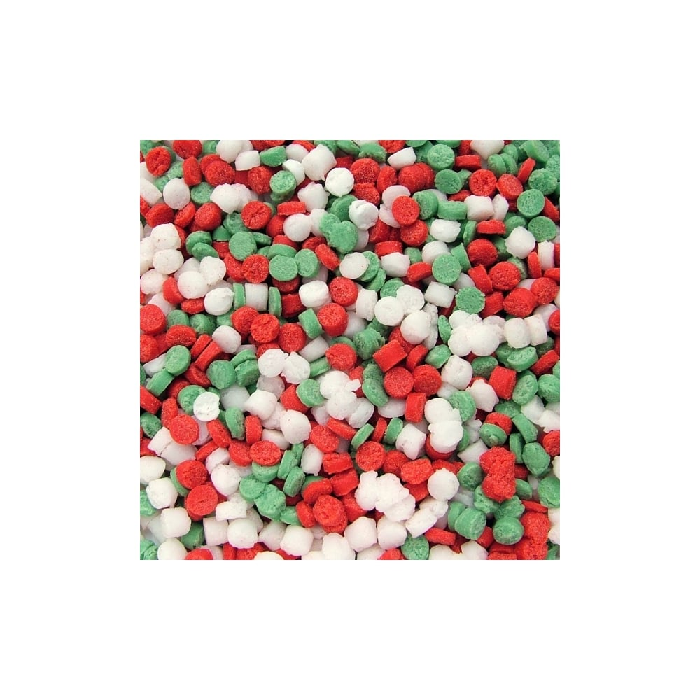 100 Natural Red Green White Mix Christmas Dots Sequin Sprinkles