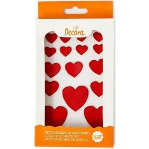 Red Hearts Sugar Royal Icing Decorations Mixed Sizes - 16 Count