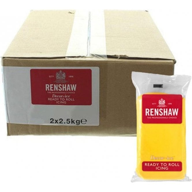 Renshaw 2.5kg Packs Bright Yellow Sugarpaste Ready To Roll Fondant Icing