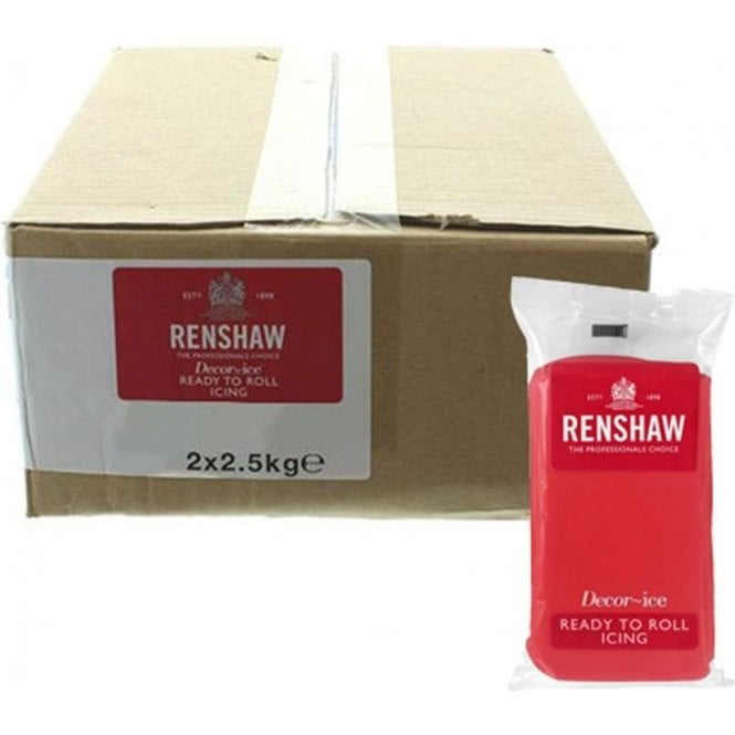 Renshaw 2.5kg Packs Poppy Red Sugarpaste Ready To Roll Fondant Icing