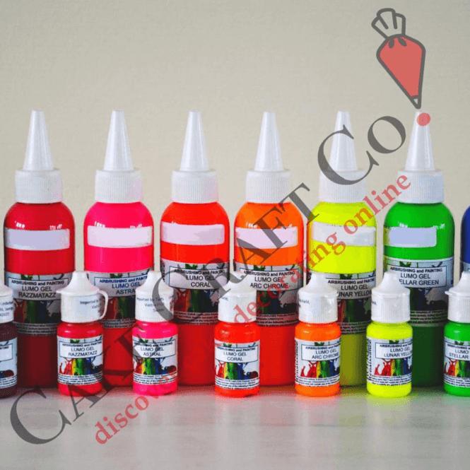 Full Set of 8 Neon/Lumo/Luminosity/Glow in the Dark Edible Paints ...