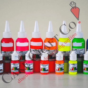 FULL SET OF ALL 8 COLOURS - Neon/Lumo/Luminosity/Glow in the Dark/Fluorescent Edible Paint & Gel - Choose Your Sizes 15ml & 100ml