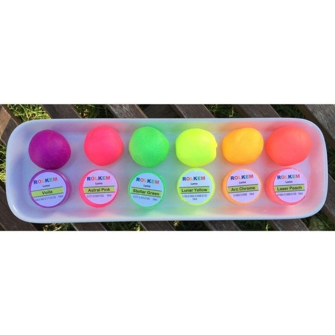 Rolkem Set of 6 - Neon/Lumo/Luminosity/Glow in the Dark Edible Cake Decorating/Sugarcraft Dusting Colour 10ml