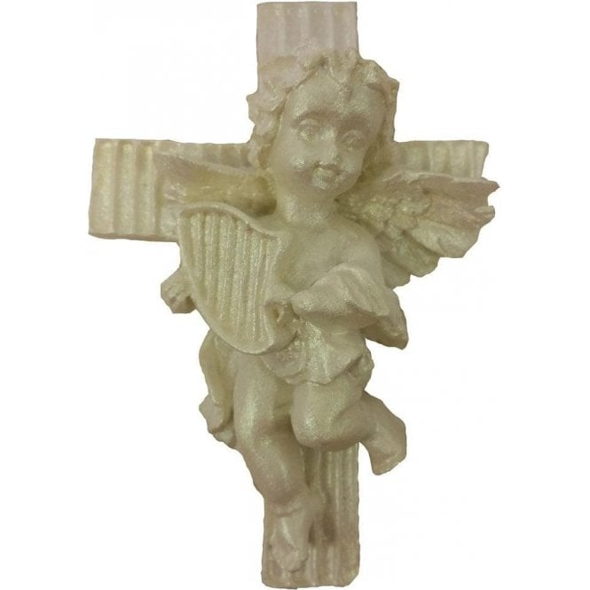 Royal Moulds Angel Playing Harp on Cross - Highly Detailed Silicone Cake Decorating Mould