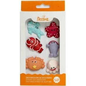 Sea Animals Sugar Royal Icing Decorations  - 6 Count