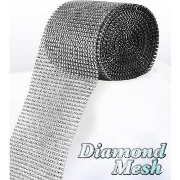 Silver Diamond Glam Rhinestone Ribbon/Wrap - available by the metre