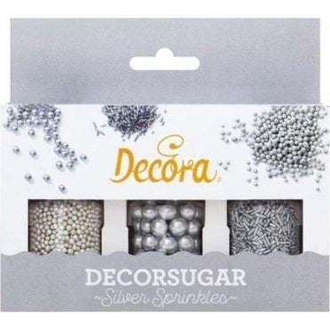 Silver Sprinkes 'Decorsugar' Edible Sprinkle Decoration Set