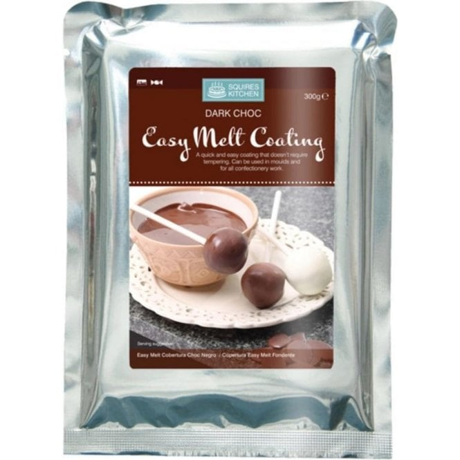 Squires Kitchen Dark Chocolate - SK Easy Melt Chocolate Coating Candy Melts (Non Tempering) 300g