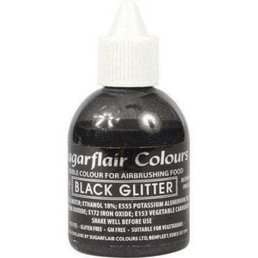 Black Glitter - Edible Glitter Airbrush Liquid Colouring 60ml
