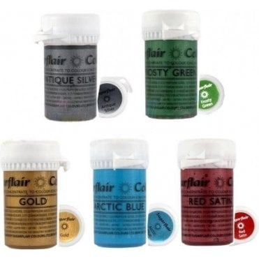 Full Set of 5 - Satin Paste Gel Food/Icing Colouring