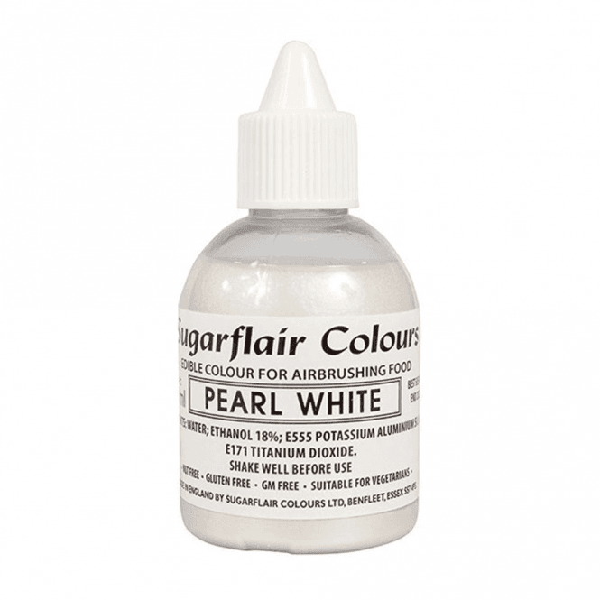 Sugarflair Colours Pearl White - Edible Glitter Airbrush Liquid Colouring 60ml