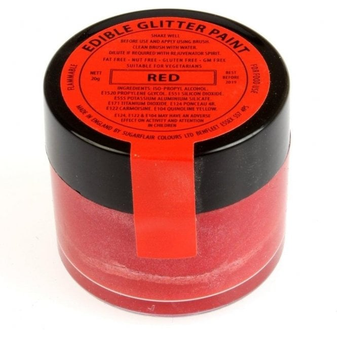 Sugarflair Colours Red Edible Glitter Paint 20g
