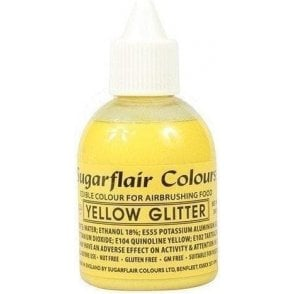 Yellow Glitter - Edible Glitter Airbrush Liquid Colouring 60ml