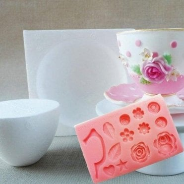 Cup & Saucer Former + Cup Handle & Flower Mould - Combo Pack